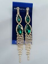 Venetti LUXURY Crystal Diamante Green CLIP ON Earrings Long Dangle Wedding Prom