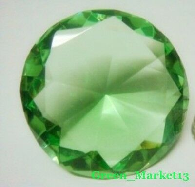 100mm/4''_Round Sapphire Glass Crystal Diamond Shaped Paperweight- Light Green