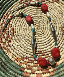 741-WOW-Necklace-Vintage-1980s-Navajo-Silver-Big-Bench-Beads-Turquoise-Coral