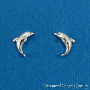 Image Is Loading 925 Sterling Silver Post Dolphin Earrings Ocean Sea