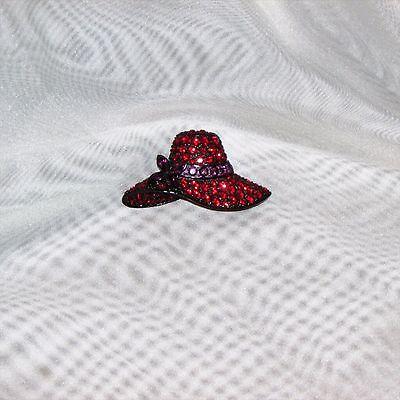 BUTLER BROOCH PIN BLACK HAT RED PURPLE RHINESTONES VINTAGE SIGNED JEWELRY NICE!