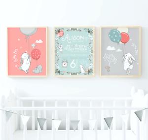 Nursery Wall Art Prints Personalised Birth Print Set Rabbit Nursery Print Set
