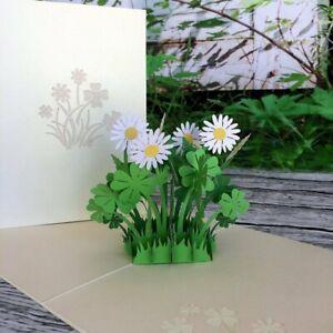 Handmade-White-Daisy-Clover-3D-Pop-Up-Card-Birthday-Get-Well-Good-Luck-Thank-You
