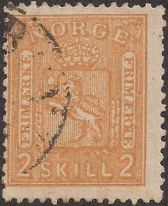1863-Norway-stamp-used-hinge-town-cancel-S-6-2-skilling-TMM