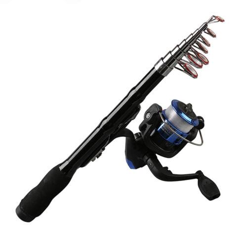 Mini Portable Teleskop Angelrute Spinning Carbon Fisch Hand Angelgeraet Sea R W2