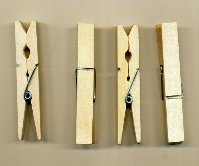 Holzwäscheklammern Wäscheklammern aus Holz 50 Stück, Unbehandelt, 7 cm lang Neu