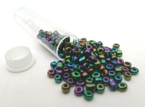 Noir Chrome marée noire en verre artisanal perles de rocaille Taille 6//0-4 MM BIJOUX ART 100