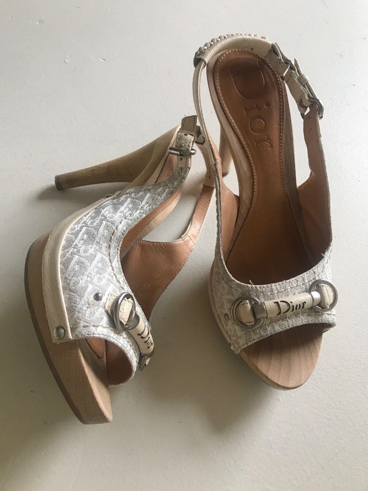 CHRISTIAN DIOR My Dior brown Coton Wooden Heel Platform Sandals 37.5  475