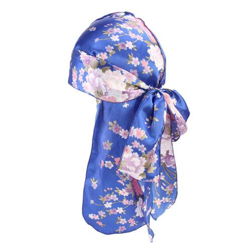 Adulte Durag Coiffure Bandeau Pirate Chapeau Camouflage Floral Soie Cap Wrap