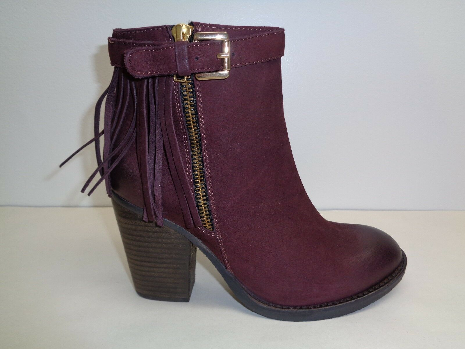Steve Madden Size 8.5 WOODMEER Burgundy Leather Ankle Boots New Womens Shoes
