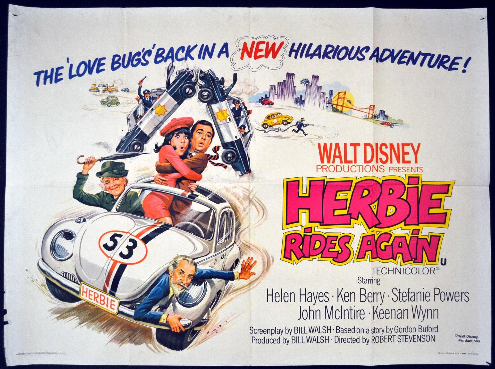 Image 1 - HERBIE RIDES AGAIN 1974 Helen Hayes, Ken Berry, Stefanie Powers UK QUAD POSTER