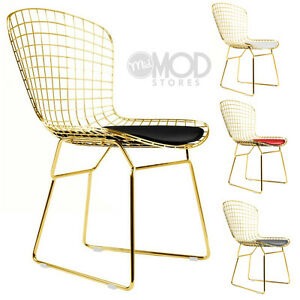 Image Is Loading Wire Side Chair Golden Wireback Mid Century Modern