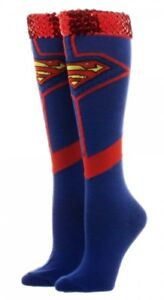 1f31194ac1a Image is loading Superman-Shield-Blue-Cuffed-Knee-High-Socks-With-