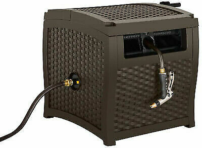 Delicieux Garden Hose Reel Storage Box 225 Ft Capacity Brown Resin Wicker  Weatherproof For Sale Online | EBay