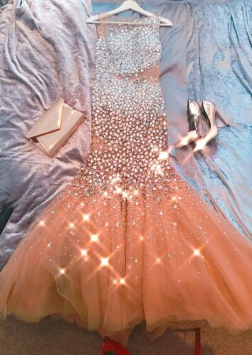 Celebrity Tule 8 Zeemeermin Bling Maat Prom Gold Sparkle Dress rwqprY