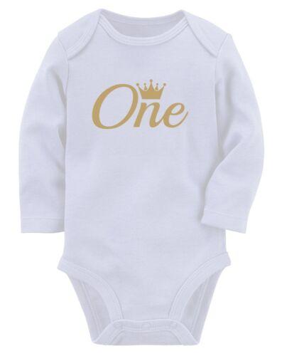 Boy 1st Birthday Gift 1 Year Old Birthday Crown Baby Long Sleeve Bodysuit Girl
