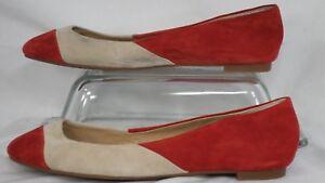 1c21b6430 Details about Splendid 'Ilia' Carmine Red/Cream Suede Block Color Ballet  Flat Women Size 7.5 M