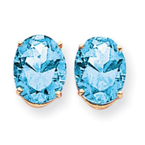 14k Yellow Gold Polished 10mm x 8mm Oval Cut Blue Topaz Post Earrings