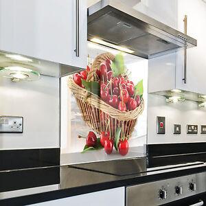 KÜCHENRÜCKWAND Spritzschutz Küche Gehärtetes Glas Rückwand Kirschen ...