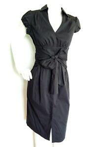 COAST-black-shirt-dress-size-10-BRAND-NEW-knee-length-short-sleeve-lined