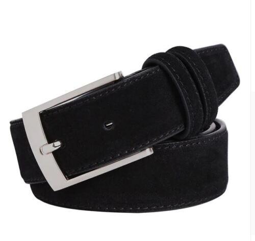 New Luxury Suede Leather Belts for Men Metal Pin Buckle ceinture homme