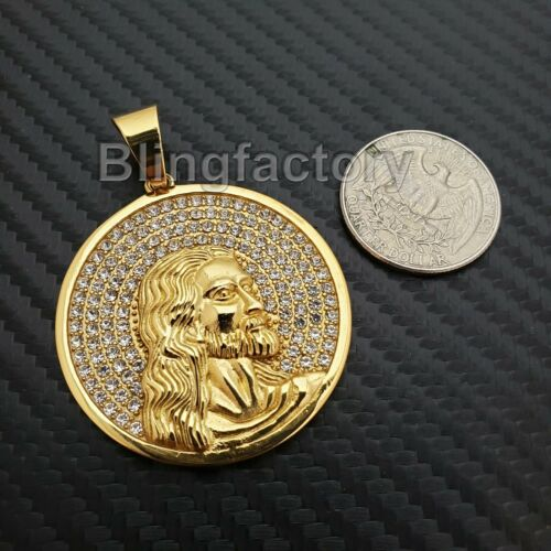 Iced Hip Hop Stainless steel Gold Tone Holy Jesus Face Medal Bling Charm Pendant