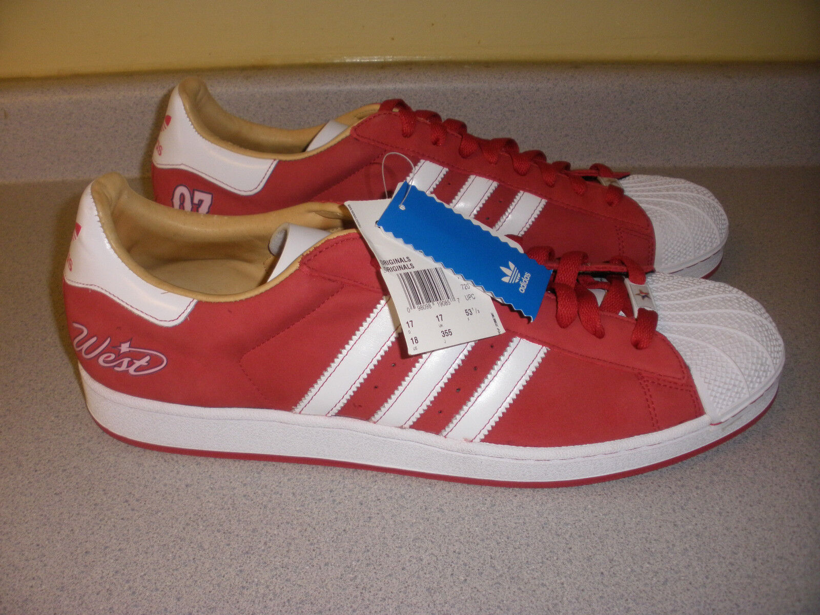 676077 ADIDAS Super Star 1 West 07 shoes RED WHITE Size 18