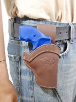 Barsony Brown Leather Western Belt Loop Holster Colt 22 38 357 Snub Nose 2