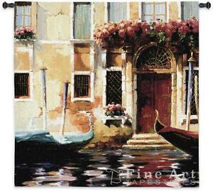 Venetian Gondolas Ii Cityscape Wall Tapestry Venice City Street Scene 53 X53 Ebay