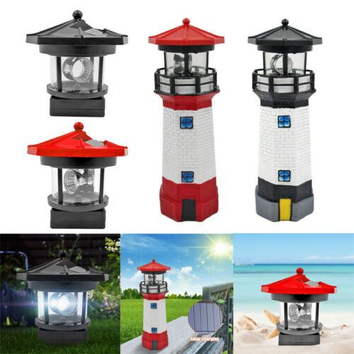 Lighthouse Solar LED Light Garden Fence Outdoor Beacon Rotating Beam Lamp Decor