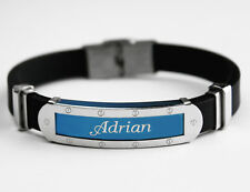 ADRIAN - Mens Silicone & Blue Name Plate Engraved Bracelet - Gifts For Him