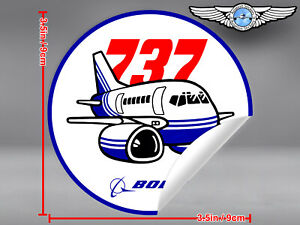 BOEING-737-B737-CLASSIC-PUDGY-STYLE-ROUND-DECAL-STICKER