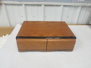 Wood Grain Vhs Storage 18 Vcr Vhs Tape Holder Two Slide
