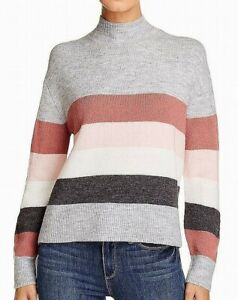 beachlunchlounge-Women-039-s-Sweater-Gray-Size-XL-Colorblock-Mock-Neck-68-861