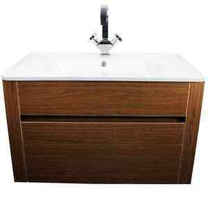 Walnut Bathroom Wall Hung Storage Cabinet Basin Sink