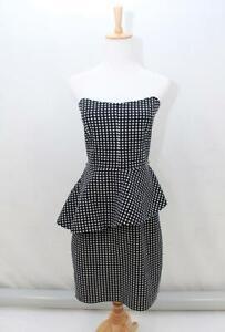 CUE-IN-THE-CITY-Black-White-POLKA-DOT-Spot-Peplum-Strapless-Dress-Size-AUS-10-S