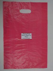 100-Qty-12-x-3-x-18-Pink-High-Density-Plastic-Merchandise-Bag-w-Handle