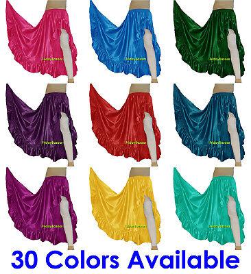 Satin Asym Ruffle Skirt Belly Dance Jupe Oriental 12Yd Gypsy Flamenco Frill Tier