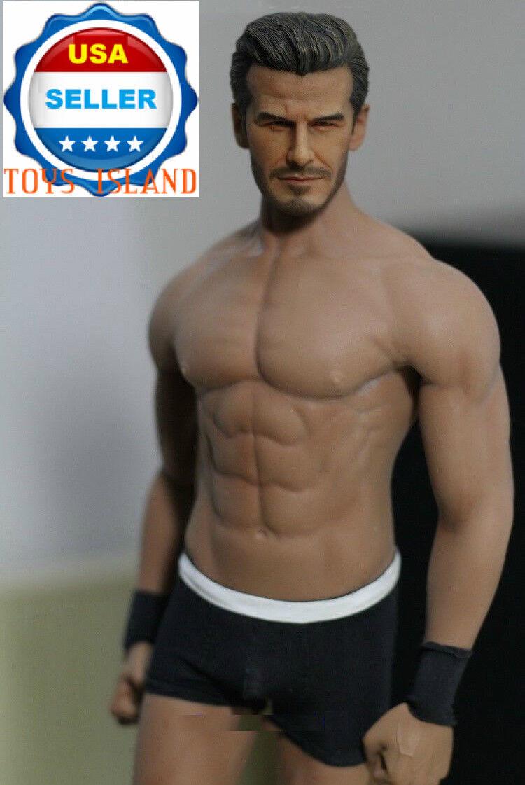 1 6 David Beckham cabeza esculpida con Phicen M33 Sin costuras Masculino Muscular Figura Set