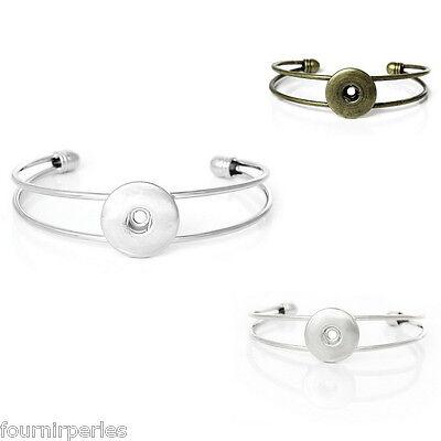 5 Bracelet Charm Cuir PU Strass Pr Bouton pression Création DIY 22.5cm