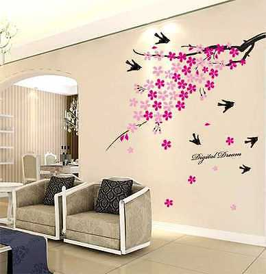 Peach Blossom and Bird Removable Vinyl Wall Stickers Home bedroom Nursery Decor