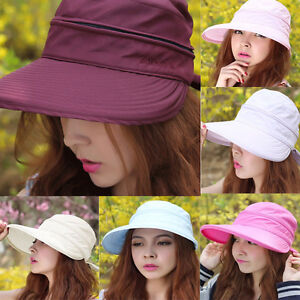 Travel Adjustable Women Lady Visor Wide Brim UV Protection Beach Sun ... 0123bb24ea9