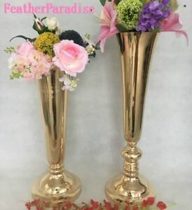 Gold Tall Vase Set Of 2 Polished Metal Trumpet Vases Wedding