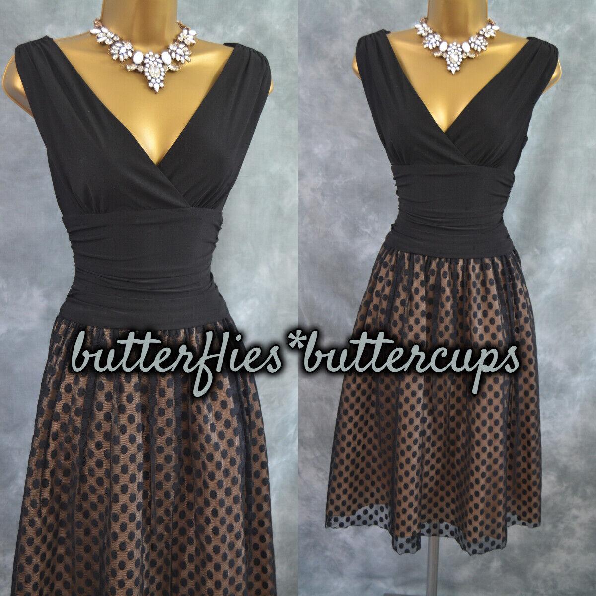 ~ ELIZA J ~ Size 10 Black & Nude Spot Fit & Flare Dress Mother of the Bride