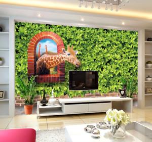 3D greene Blattgiraffe Kind 638 Tapete Wandgemälde Tapeten Bild Familie DE Summer