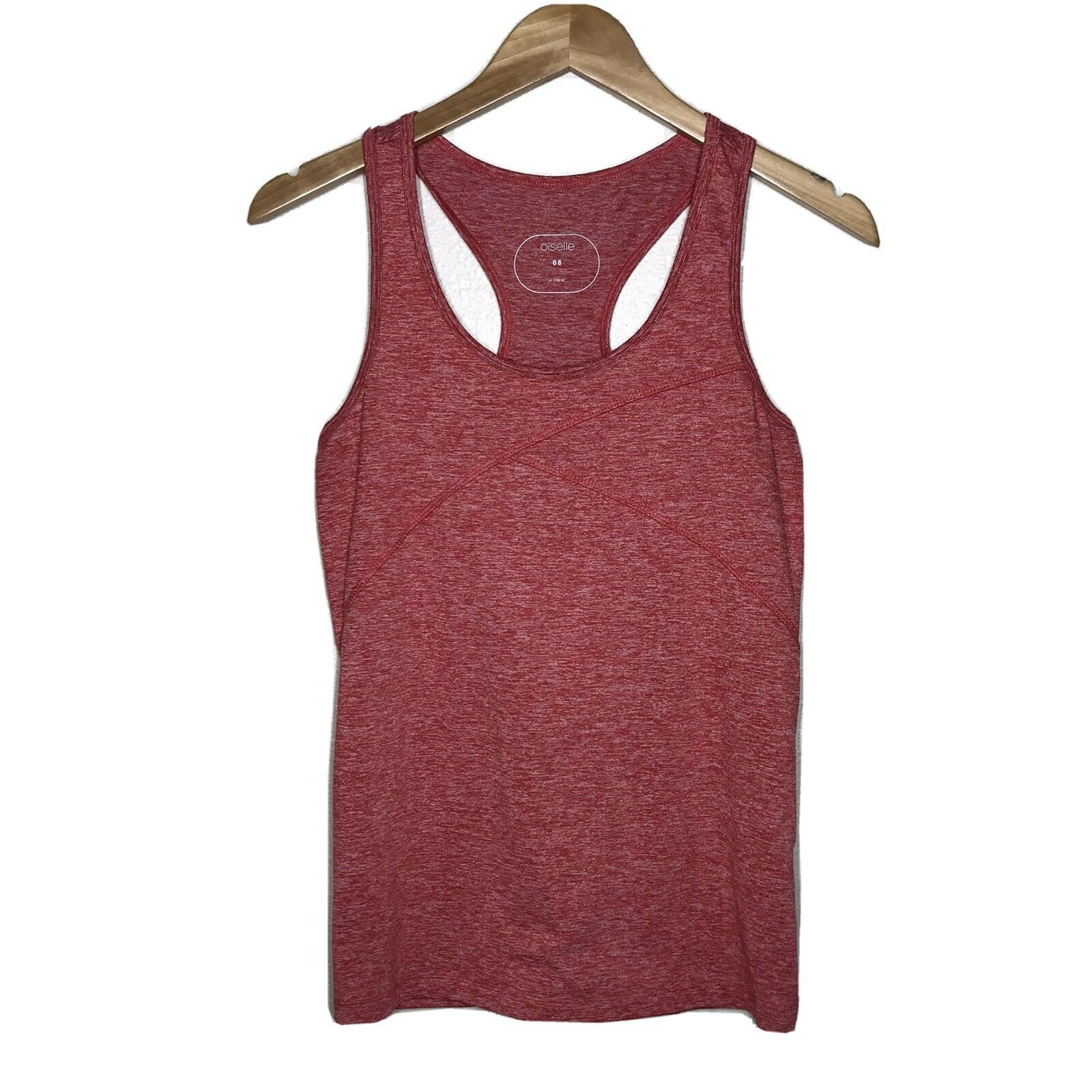 Oiselle Lux Winona Heather Red Racerback Athletic Tank Top Womens 8