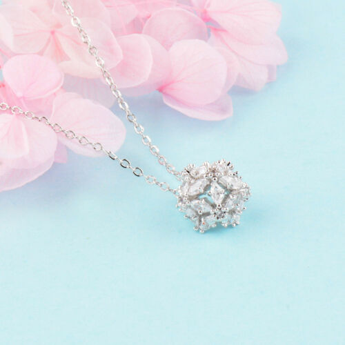 Romantic Hollow Flower Ball Cubic Zirconia Pendant Necklace Fashion Jewelry