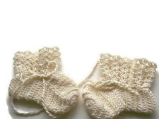 "Baby Booties Baby Shoes Crochet Booties Newborn Shoes 4 "" Off White OOAK"