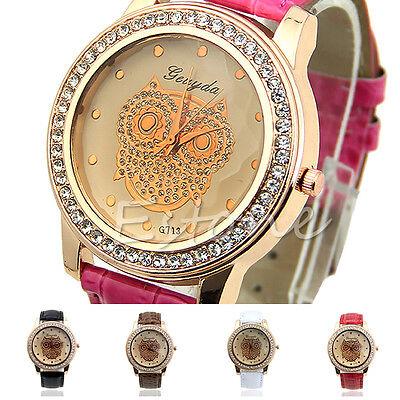 Fashion Women Champagne Delicate Owl Crystal Decorated Quartz Analog Wristwatch