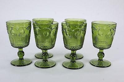 6 Manhattan-Green Water Goblets By Barlett Collins Mid Century Modern Barware